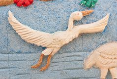 Picture of egret made from rice seed. Picture of egret made from rice seed in rice seed festival ,thailand Stock Photo