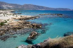 Elafonissos beach, crete, greece. Picture of elafonissos / simos beach in greece without anybody. famous beach located in crete near chania. natural reserve park stock photos