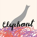 Picture of Elephant, icon for web, label, minimal dynamic design, banner. Hand drawn design element. stock illustration