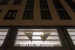 Emporio Armani logo on their main store in Munich, Germany. Emporio Armani is the store brand of the Fashion creator Giorgio Arman. Picture of the Emporio Armani royalty free stock photography