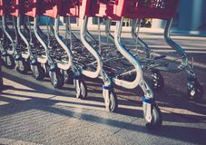 Shopping trolleys in shop Stock Photography