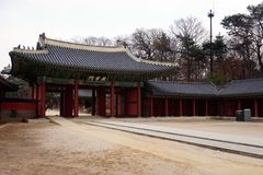 Beautiul Changdeokgung Palace in Seoul, South Korea. Picture of the entrance in Changdeokgung Palace in Seoul, South Korea Stock Photo