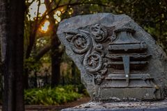 Epic ancient stone carving and design royalty free stock photo