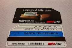 In the picture an example of an Italian telephone card. stock photography
