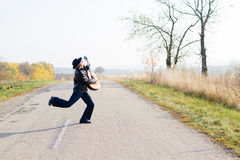 Picture of excited giutarist playing guitar crazy Stock Images