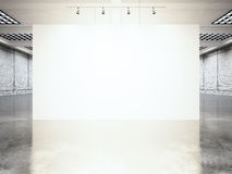 Picture exposition modern gallery,open space.Blank white empty canvas contemporary industrial place.Simply interior loft Royalty Free Stock Photos