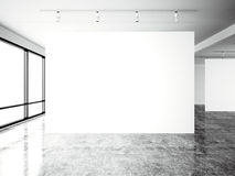 Picture exposition modern gallery,open space.Blank white empty canvas contemporary industrial place.Simply interior loft. Style with concrete floor,panoramic Stock Images