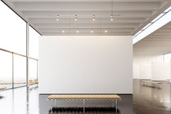 Picture Exposition Modern Gallery,open Space.Blank White Empty Canvas Hanging Contemporary Art Museum.Interior Loft Royalty Free Stock Photos