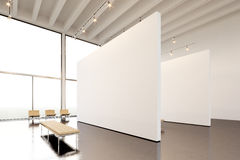 Picture exposition modern gallery,open space.Huge white empty canvas hanging contemporary art museum.Interior industrial Royalty Free Stock Photography