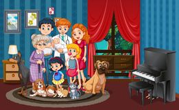 Picture of family in the house. Illustration vector illustration
