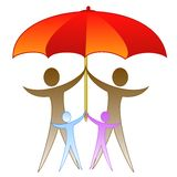 The picture of family under a large red umbrella Stock Photography