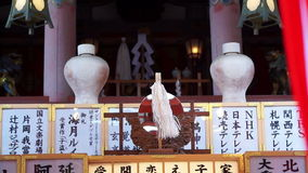 Picture of famous Japanese shrines details boards setting. Abstract culture an travel stock footage