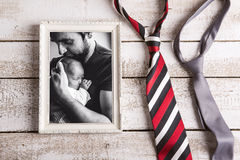 Picture of father holding baby daughter. Fathers day. Royalty Free Stock Photo