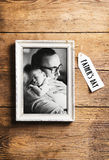 Picture of father holding his baby son. Fathers day concept. Royalty Free Stock Image