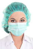 Picture of female doctor in mask over white Royalty Free Stock Images