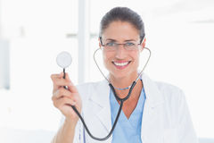 Picture of a female doctor with stethoscope Stock Photo