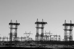 Fields of power lines Royalty Free Stock Photography