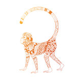 Picture fiery monkey. Illustration of a monkey, a symbol of New Year 2016. head of an animal, with ethnic motifs. Sketch of tattoo print on a T-shirt or a Stock Photo