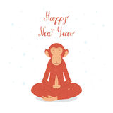 Picture fiery monkey. Monkey in the lotus in the new year 2016. Fire Monkey peace and tranquility Royalty Free Stock Image