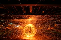 Circle made by the burning steel wool royalty free stock images