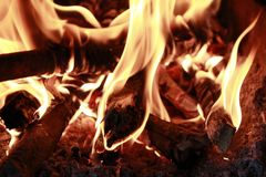 Burning Fire Image In The Sob. Picture of a fire with a dangerous image burning in the sob royalty free stock photo