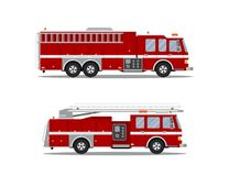 Picture of fire truck. Picture of two fire trucks  on white background. Flat style illustration Stock Image