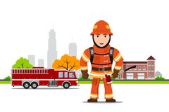 Picture of a firefighter. Character with axe in front of firetruck and firehouse building, flat style illustration Stock Photo