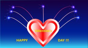 The picture with fireworks, a heart and a decorative inscription Happy Valentine`s day!!!. A beautiful picture with fireworks, a heart and a decorative Royalty Free Stock Photography