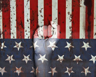 Picture of a fist painted in colors of american flag Royalty Free Stock Photography