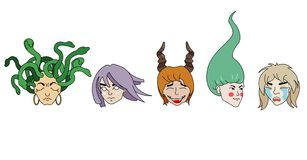 Picture of five fantastic girls with different hairstyles, hair color and emotions. royalty free illustration