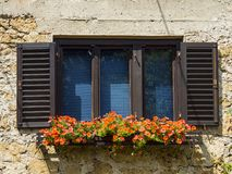 Flowered window. A picture of a flowered window Royalty Free Stock Photos