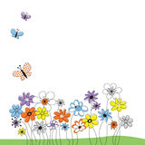 Picture with flowers and butterflies vector illustration