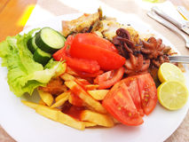 Picture of food on a white plate Royalty Free Stock Images