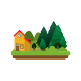 Picture forest background with house Stock Photo
