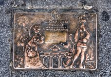 Picture forged copper on the corner of the house in Madrid Stock Photo