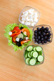 Picture of four plates with vegetables Stock Photo