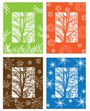 Picture with four season symbols Stock Photography