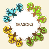 Picture with four seasons. Winter, spring, summer and autumn tre Royalty Free Stock Image