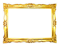 Picture Frame. Vintage picture frame, gold plated, white background.  Baroque picture frame to put your own pictures in Royalty Free Stock Photos