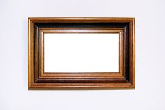 Picture frame. Vintage wooden picture frame on white background Royalty Free Stock Photo