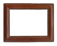 Picture frame. Brown leather picture frame for portrait or text Stock Photo