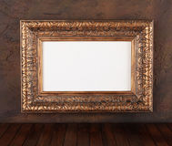 Picture frame. Ancient structure on a wall stock image