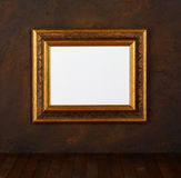 Picture frame. Old frame over the grunge wall background stock photos