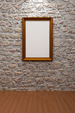 Picture frame. Empty picture frame stone wall Royalty Free Stock Photos