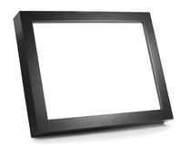 Picture Frame. Black Wooden Picture Frame on shiny desk with space for copy Stock Photos
