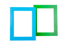 Picture frame. Blue and green picture frames isolated on white background stock photography