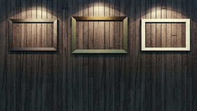 Picture frame. Three picture frames on wooden wall Stock Image