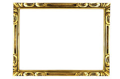 Picture frame. Gold square antique picture frame cutout art craft Stock Photos
