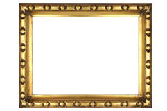 Picture frame. Gold square antique picture frame cutout art craft Stock Photo