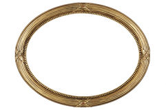 Picture frame. Empire gold oval antique picture frame cutout art craft Stock Photos